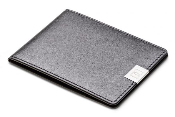 Black Silver - Handmade leather slim wallet